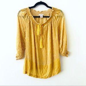 SUNDANCE Yellow Velvet Pattered Silk Blend Top